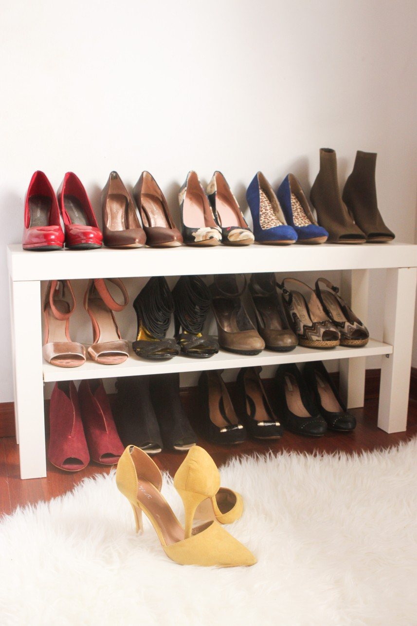 Ikea TV LACK bench used as a shoe stand (6 ways to use the Ikea Lack TV bench)