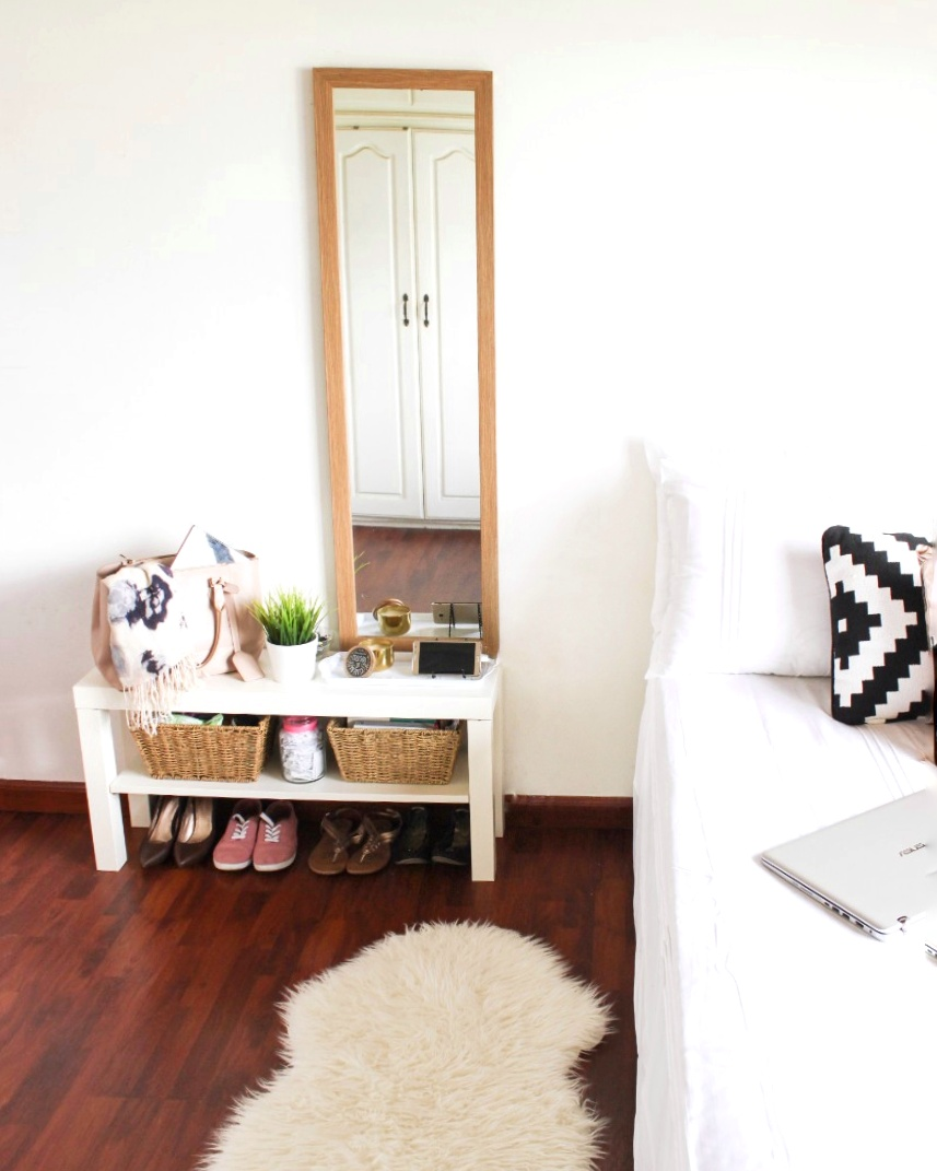 Ikea LACK TV bench as a bedside table (6 ways to use the Ikea TV bench in small spaces)