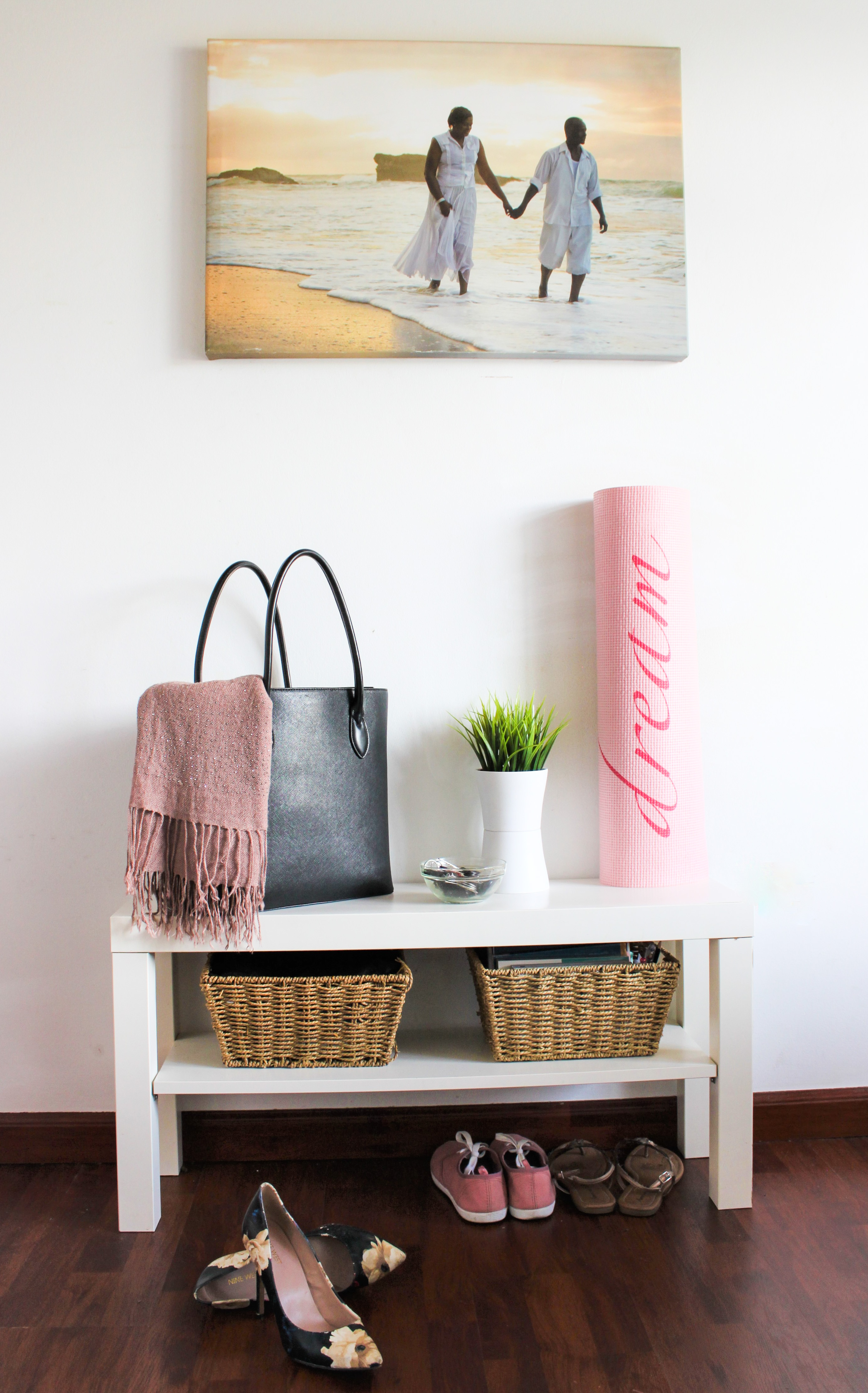 Ikea LACK TV bench perfect for a small entryway (6 ways to use the Ikea LACK TV Bench)