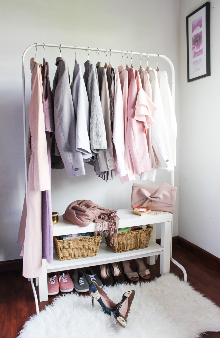 Ikea LACK TV bench paired with Ikea clothing rack for the perfect minimalist open closet (6 ways to use the Ikea TV bench in small spaces)