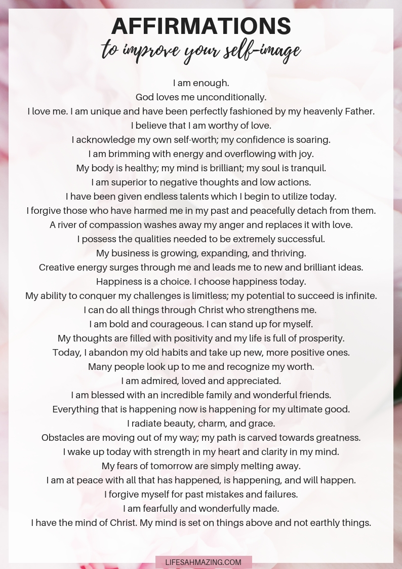 31 Affirmations to Improve Your Self-Image - Life's AHmazing!