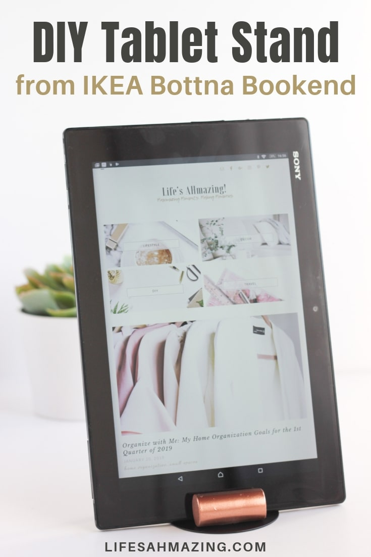 Make this super easy DIY Tablet Stand from an Ikea Bottna Bookend. #diyproject #diyhomedecor #ikeahack