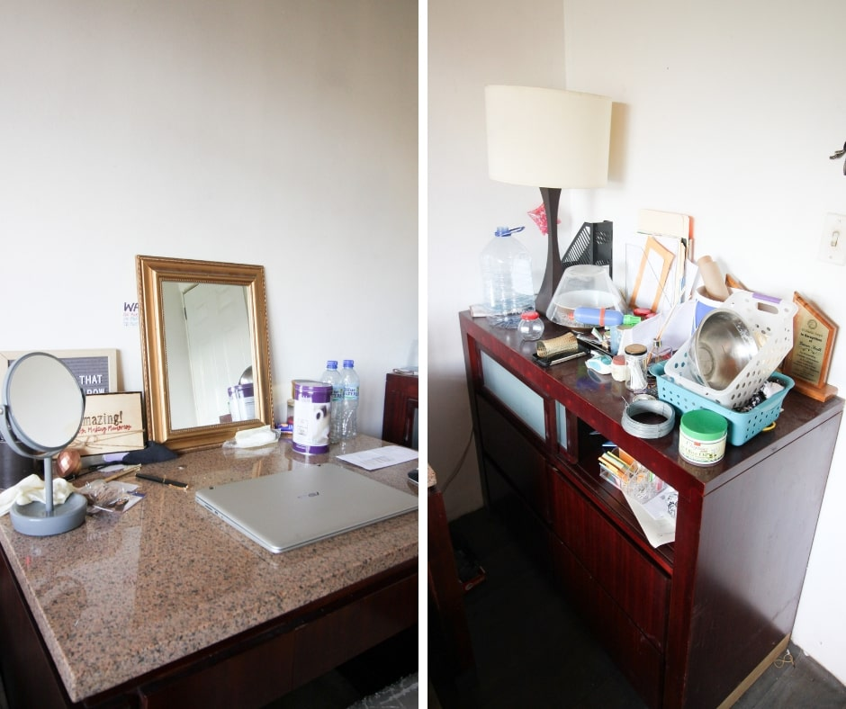 desk organization and home office nook - before photos