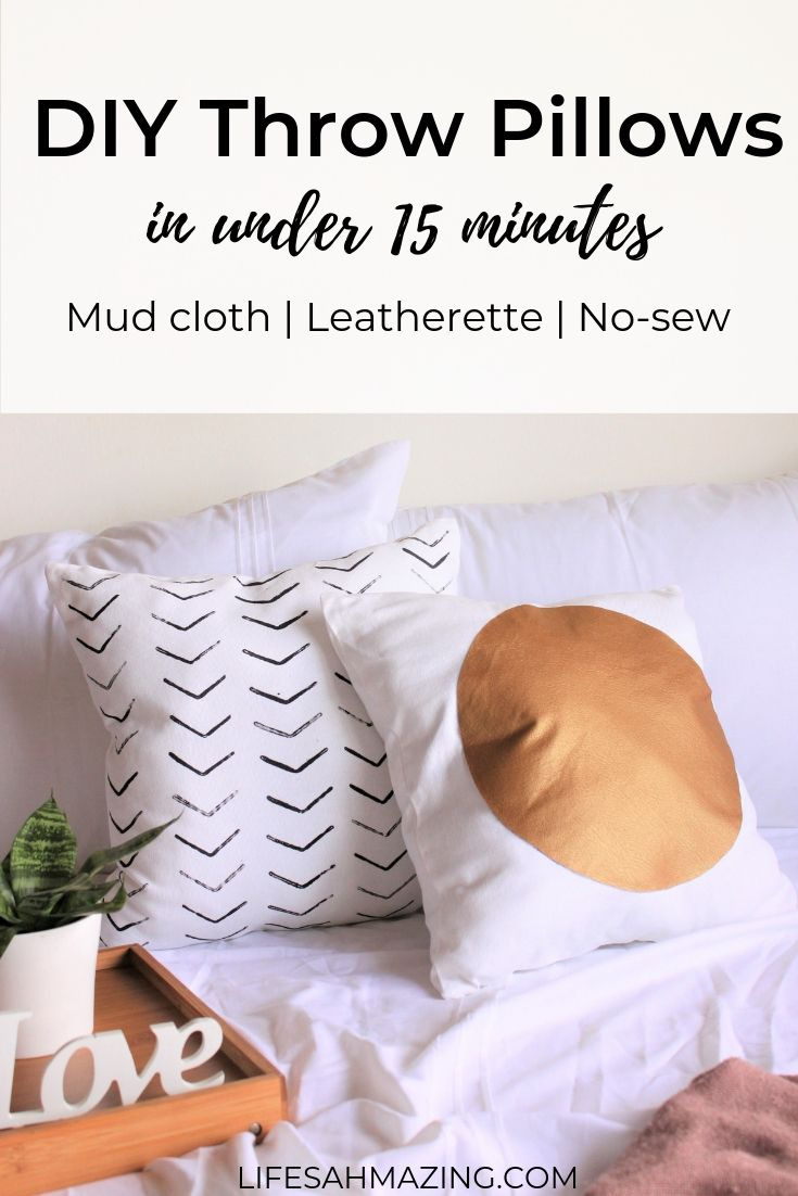 Easy, No Sew DIY Throw Pillows - Mud cloth and scandi-inspired throw pillows