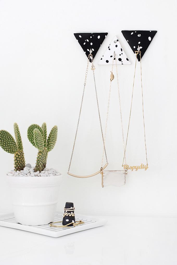 Stylish DIY Jewelry Organizers - triangle clay necklace hooks