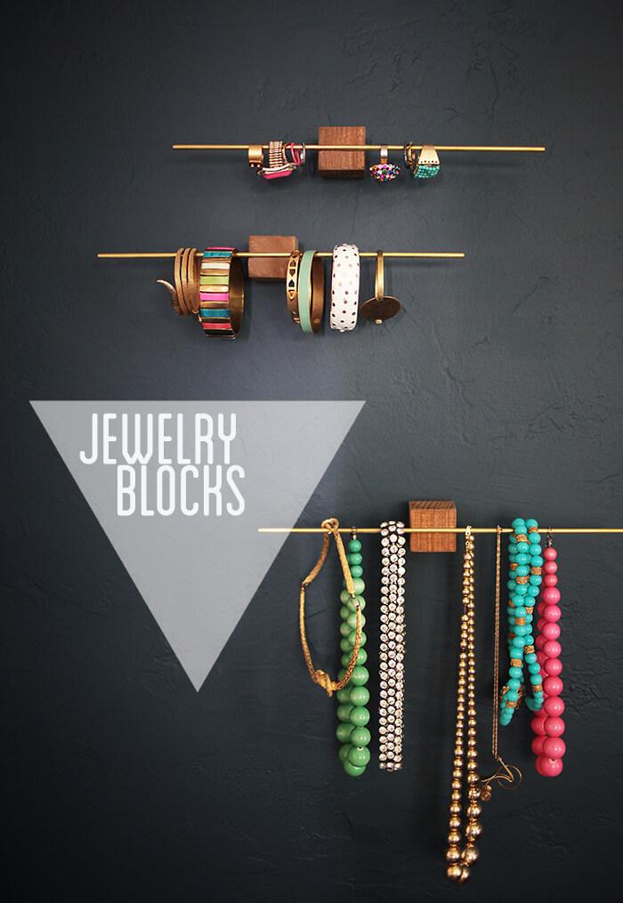 Stylish DIY Jewelry Organizers - DIY wood jewelry blocks