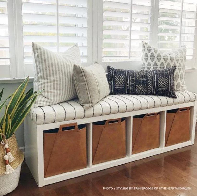 Use a bookcase as a bench with concealed storage