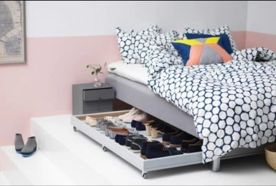 Under the bed storage is a key way to maximize space in a small bedroom